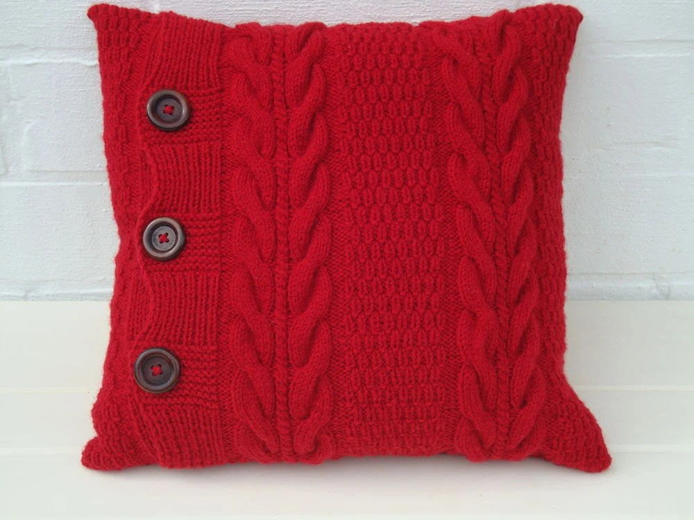 Red knitted pillow knit pillow cover chunky pillow sofa throw