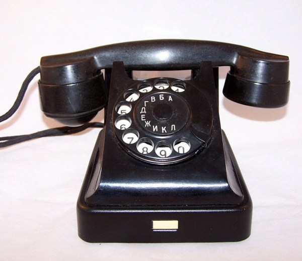 Vintage Soviet Rotary Desk Phone. Black Ebonite Retro