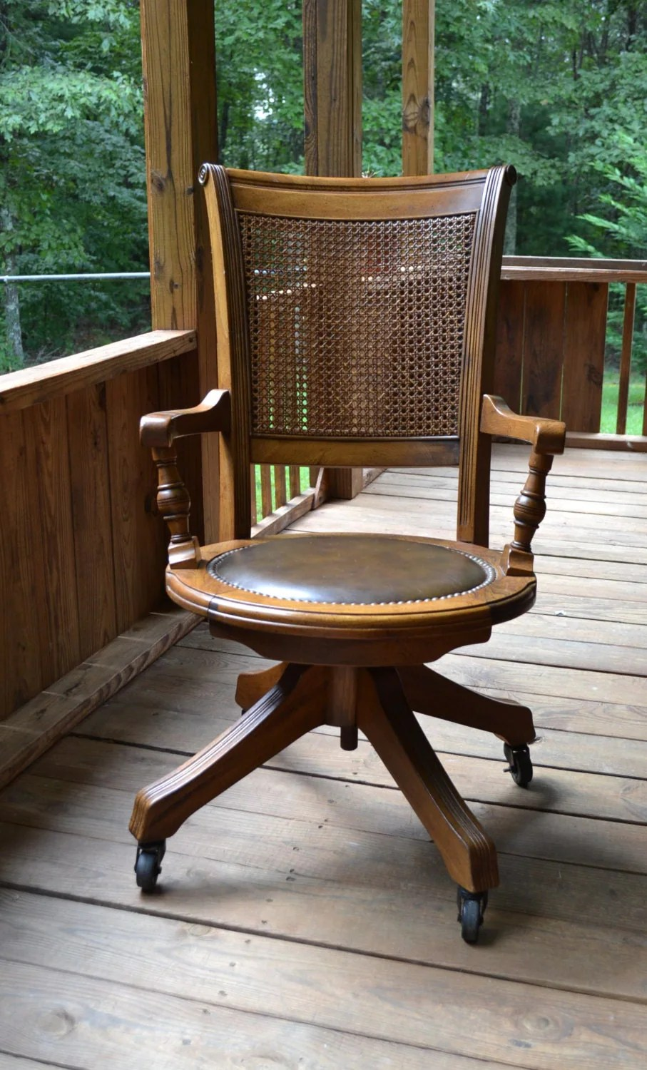 Vintage Wood Oak Office Chair Swivel Wheels Cane Back Vinyl
