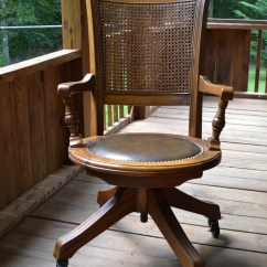 Bentwood Cane Seat Chairs Desk Chair Mid Century Vintage Wood Oak Office Swivel Wheels Back Vinyl