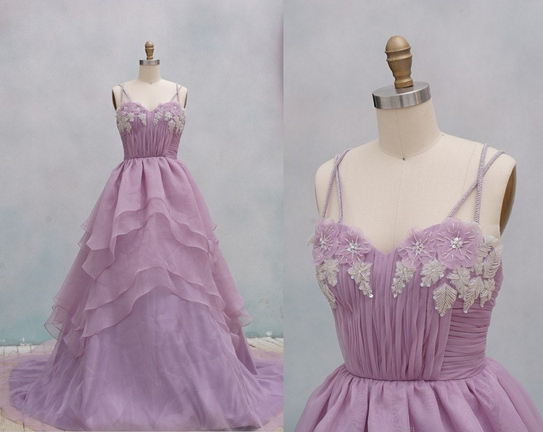 Light Purple Organza Wedding Dress Ball Gown Dress By Misdress
