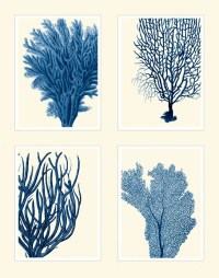 Blue Coral Print on 4 Panels Nautical print beach by ...