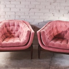 3 Legged Chair Mid Century Modern Chairs For Sale Pair 1960s Vintage Three Tufted Tub Pink Velvet