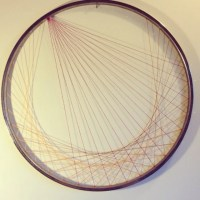 Recycled Bicycle Wheel Wall Art String Art gold and