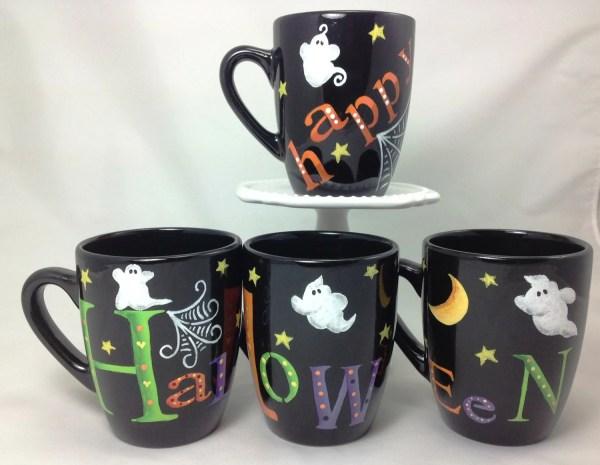 HALLOWEEN MUGS Black coffee mugs SAYING Happy Halloween are