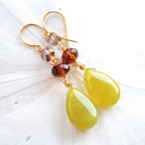 Olive Jade with Amber & Grey. Fall Bridesmaids Earrings.