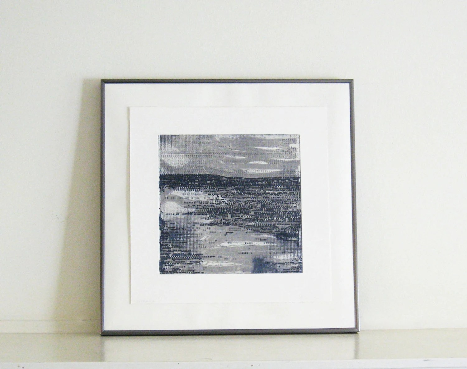 Contemporary Etching Print . Minimalist Home Decor: Strata 26 in blue and gray - ElviaPerrin