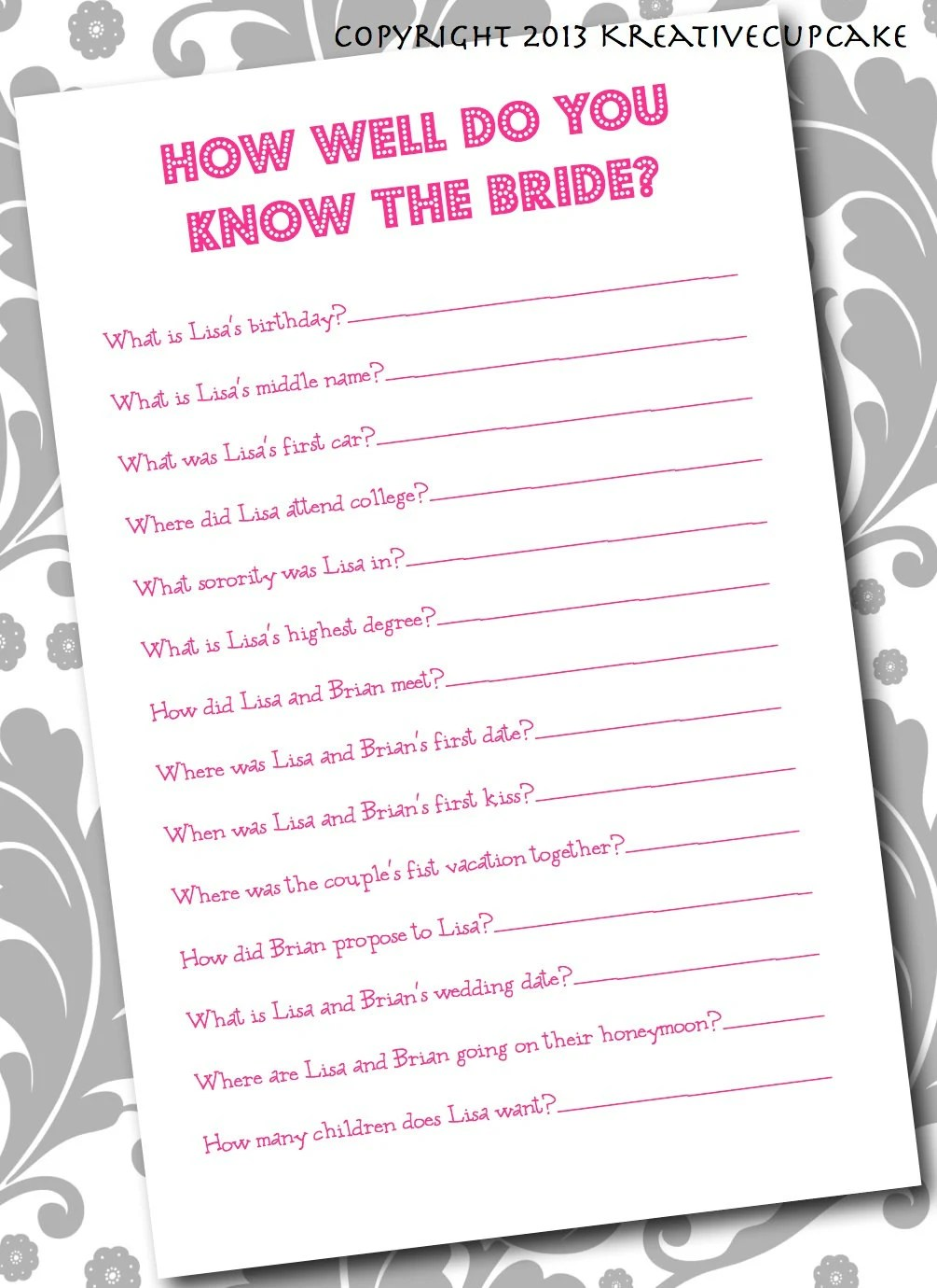 DIY Printable Wedding Mad Libs or printing by KreativeCupcake