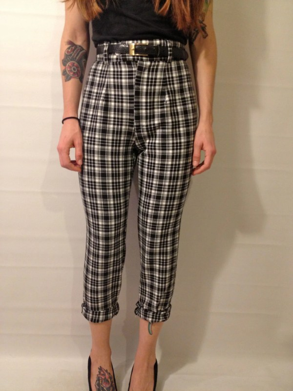 Vintage 90s High Waisted Black And White Plaid Pants Size