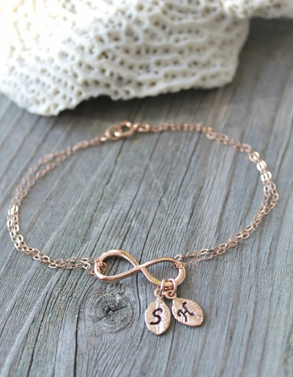 Personalized 14k Rose Gold Filled Infinity Bracelet With Two 2