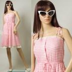 Vintage 50s Dress Mad Men Pink Gingham Summer Sun