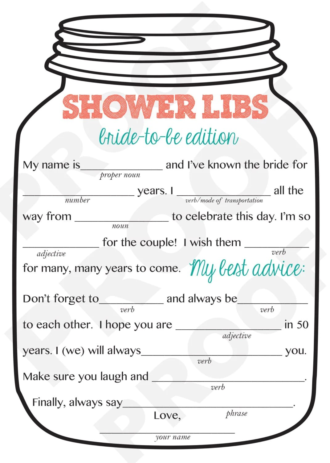 Luxury 20 Of Mad Libs For Wedding Shower