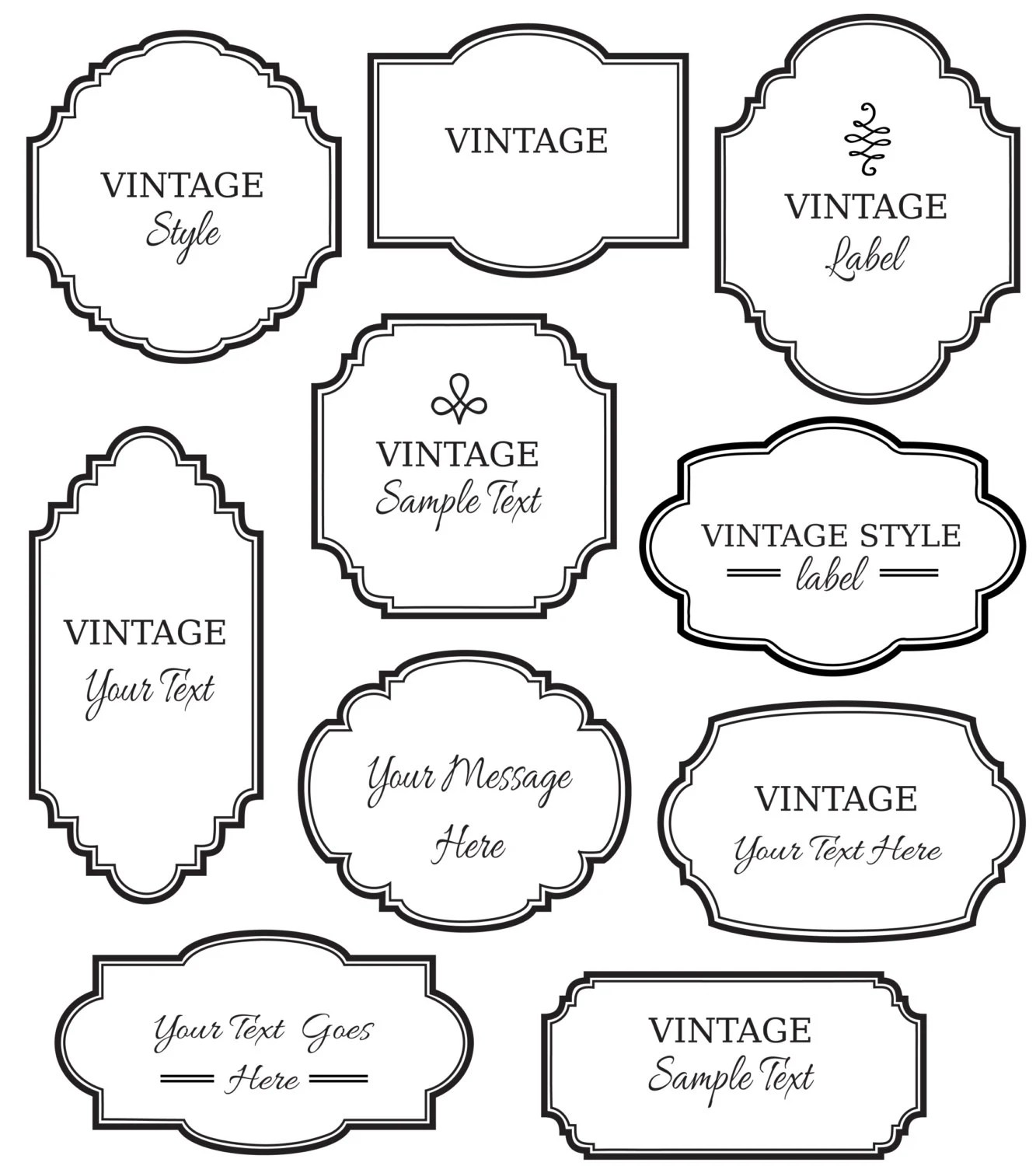 CLIP ART: Vintage Labels // Digital Frame // Vector eps
