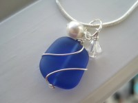 Cobalt Blue Necklace and Earring Set Sea Glass by