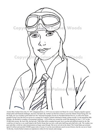 Items similar to Amelia Earhart Coloring and Information