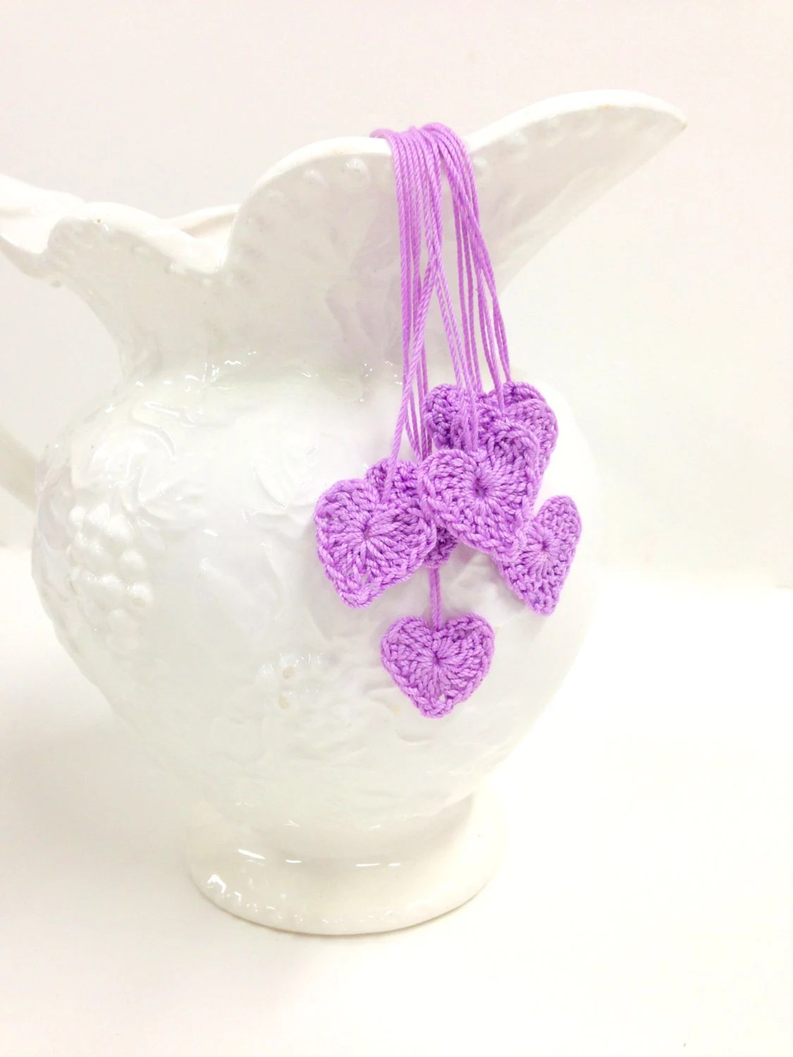 Radiant Orchid Heart Motifs, 7 Tiny Crochet Hearts, Wedding Decor, Romance, Love - StitchKnit