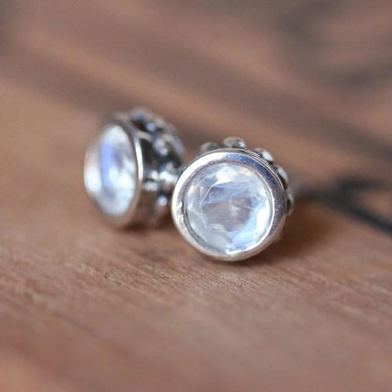 Moonstone stud earrings rainbow moonstone earrings by