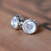 Moonstone stud earrings rainbow moonstone earrings by ...