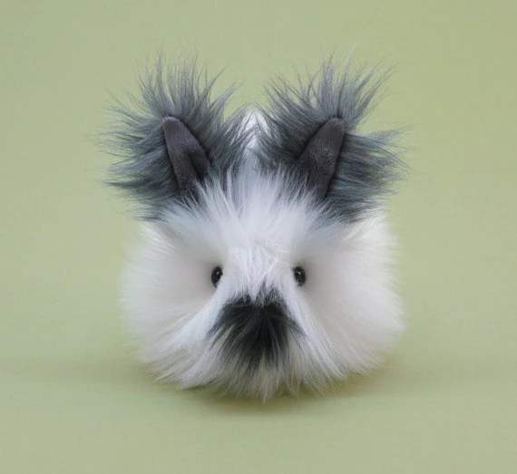 Dottie Gray and White Fluffy Bunny Stuffed Toy Plushie Small