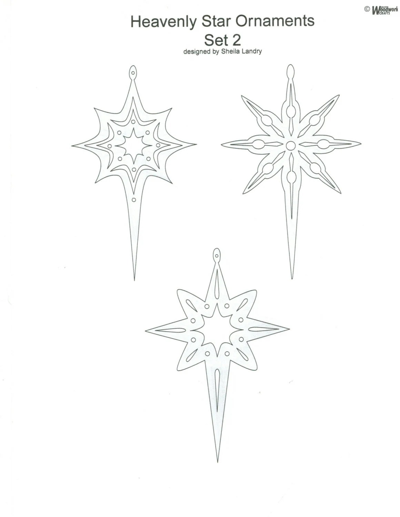 Chrsitmas Heavenly Stars Ornaments Scroll Saw Woodworking Plan