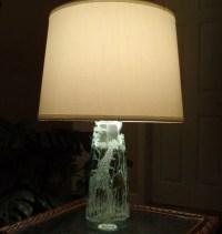 Giraffe Glass Lamp Green Hand Carved Glass by karenskarvings