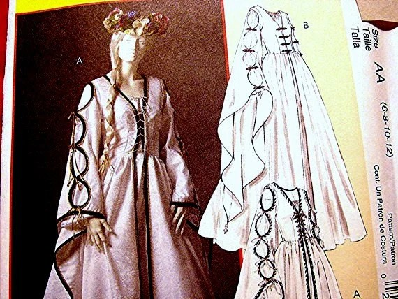 Medieval Renaissance Wedding Costume Gown Dress Pattern With