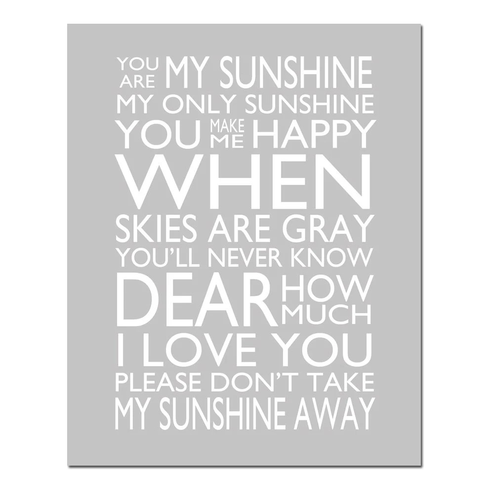 You Are My Sunshine My Only Sunshine 11x14 Print Kids by