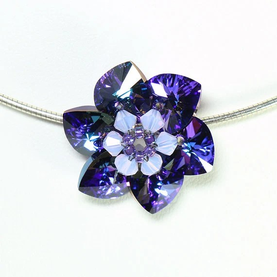Blue / purple crystal flower pendant