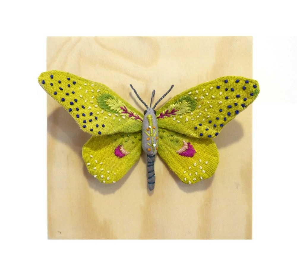 Fabric sculpture -Yellow butterfly textile art