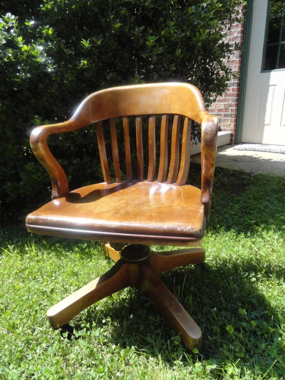 ANTIQUE Oak Desk Chair Swivel Rock Roll Vintage by