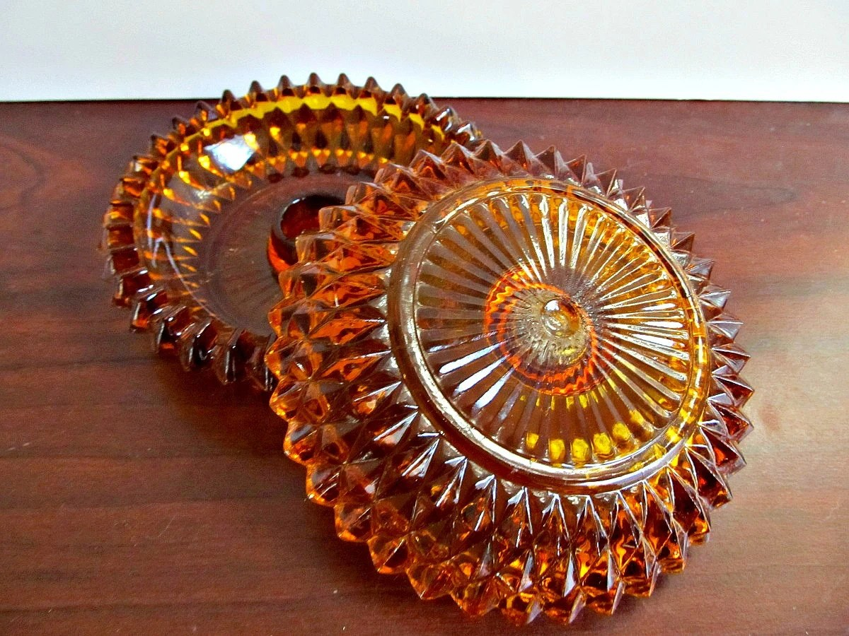 Amber Cut Glass Candle Holders - Vintage Mid Century Fall Thanksgiving Dinner Table Home Decor - LizzieJoeDesigns