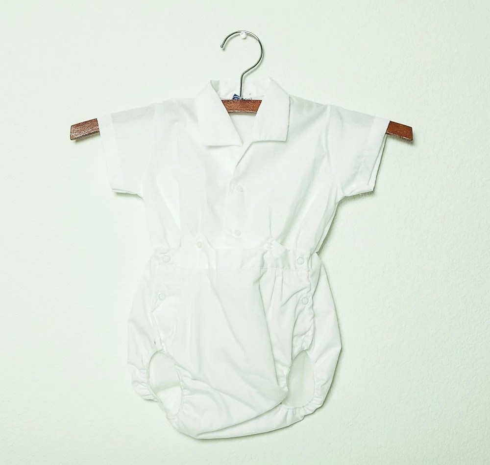 vintage 1960s baby boy white romper with plastic pants