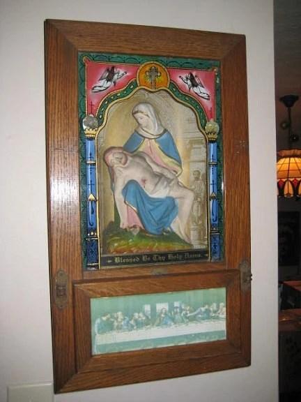 Antique Catholic Last Rites Pieta Shadow Box Shrine Altar Sick