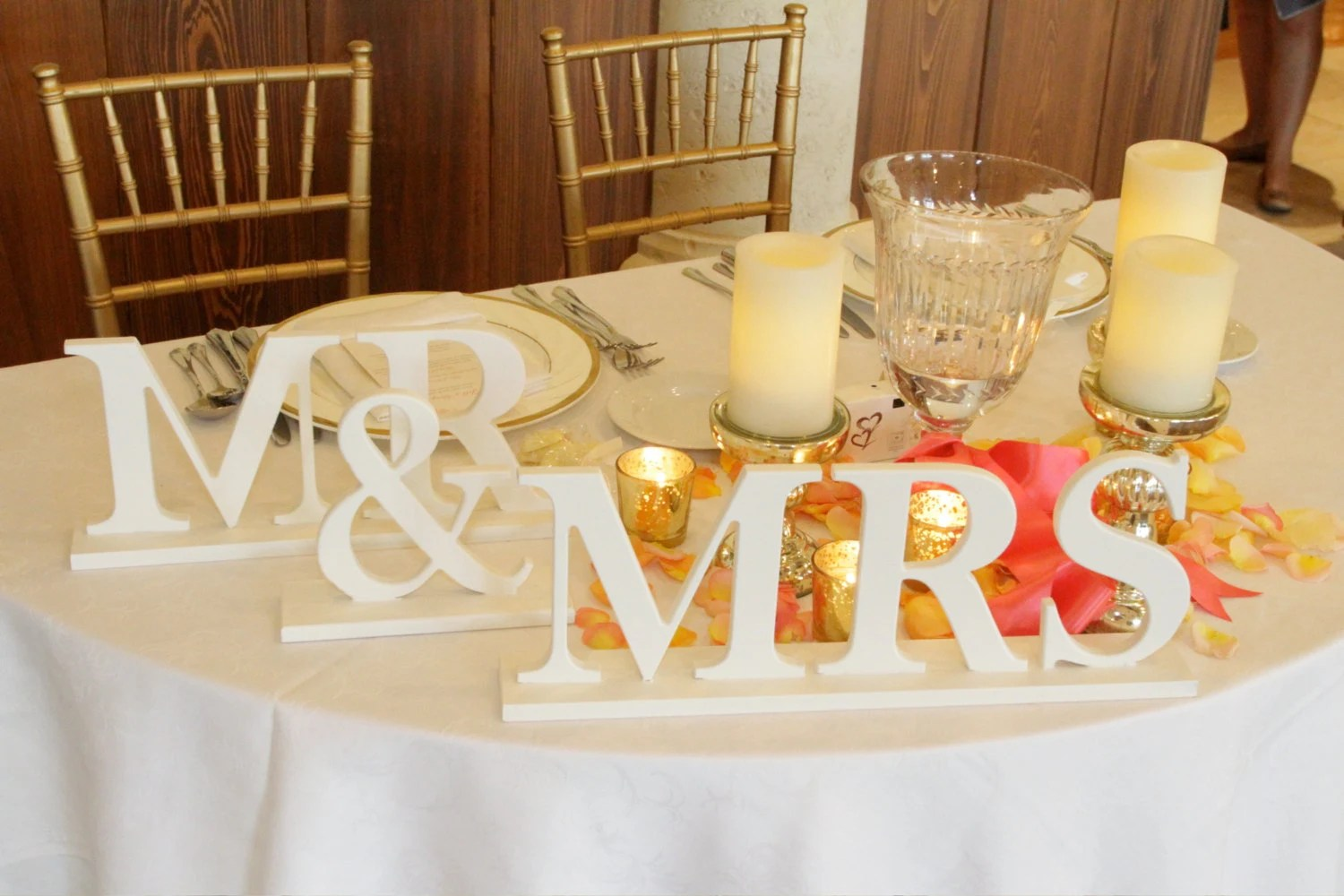Signs For Wedding Reception Metallic Wooden Decor Mr. And