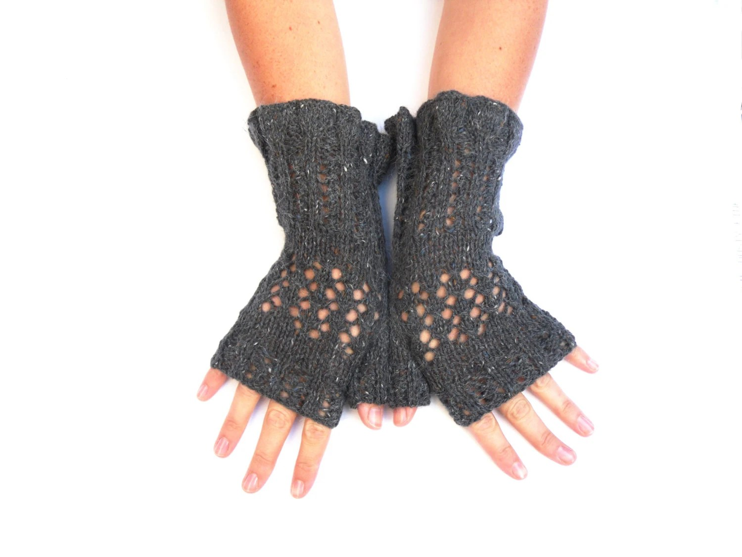 Sexy Lace Fingerless lace gloves - feminine goth handwarmers  - hand knitted , custom colours - TheFeminineTouch