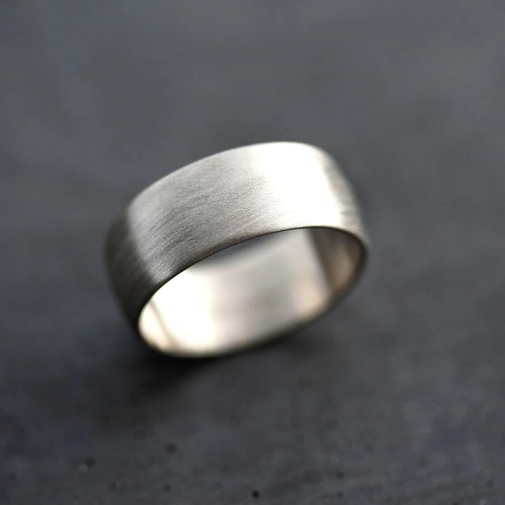 Wide Mens White Gold Wedding Band Recycled 14k Palladium