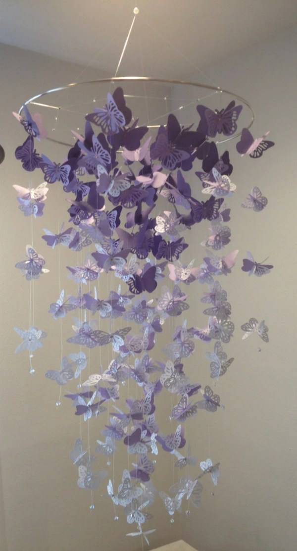 Monarch Butterfly Chandelier Mobile In Purple And White