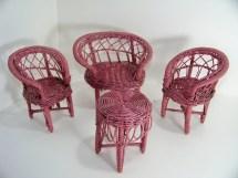 Vintage Pink Wicker Doll Furniture