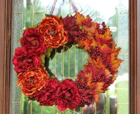 Fall Wreath Door Wreath Grapevine Peony Rust Wine by BeezDream