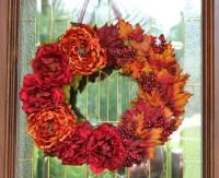 Fall Wreath Door Wreath Grapevine Peony Rust Wine by BeezDream