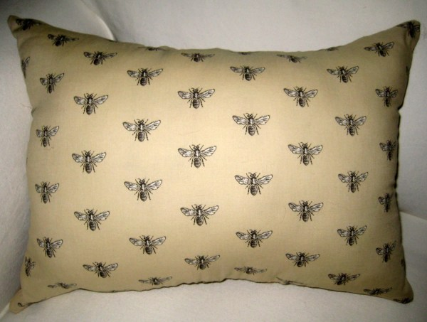 French Queen Bee Lumbar Pillow With Burlap Reversible Shabby