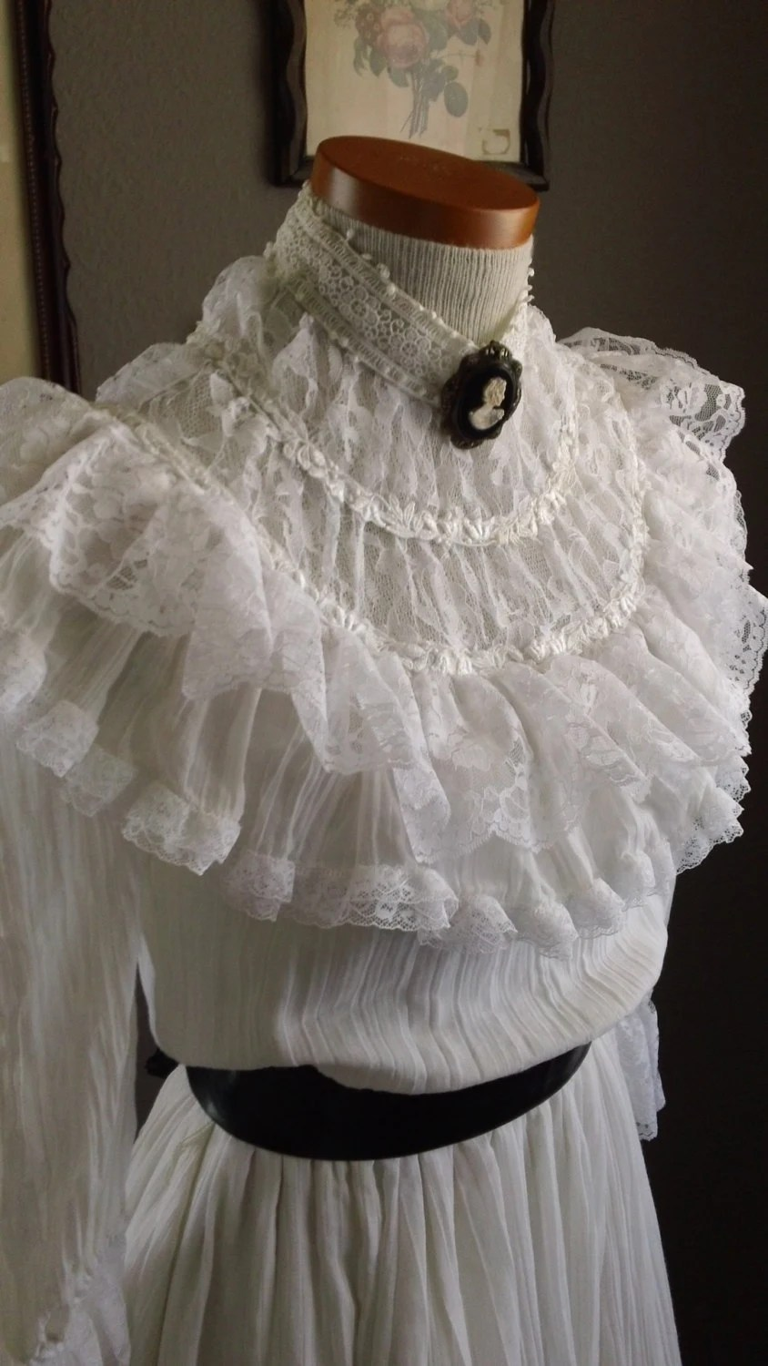 70s Gunne Sax White Gauze Cotton and Lace High Neck Victorian