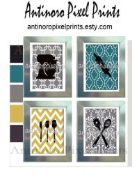 Digital Personalized Wall Art Teal Yellow by