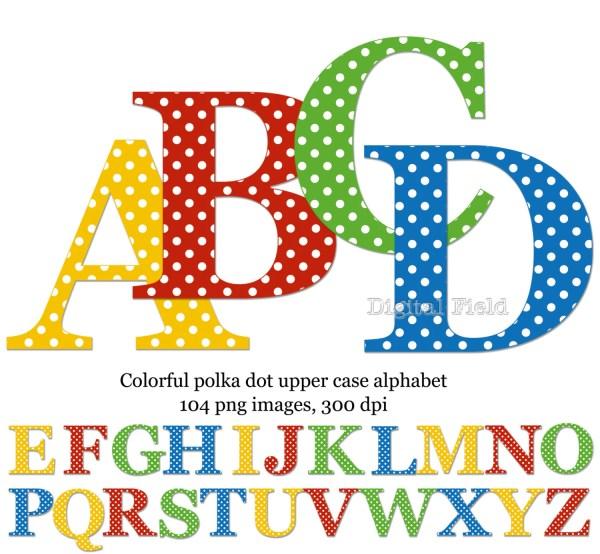 Polka Dot Uppercase Alphabet Clip Art Set Yellow Red Blue