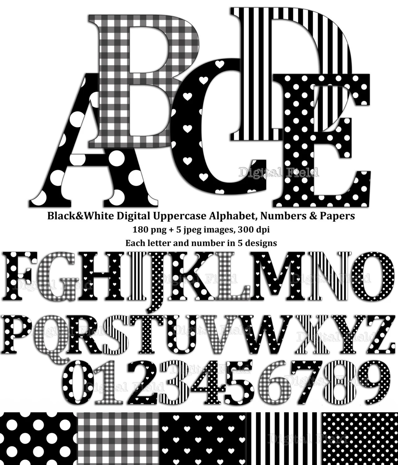 Black and white uppercase alphabet and number clip art set