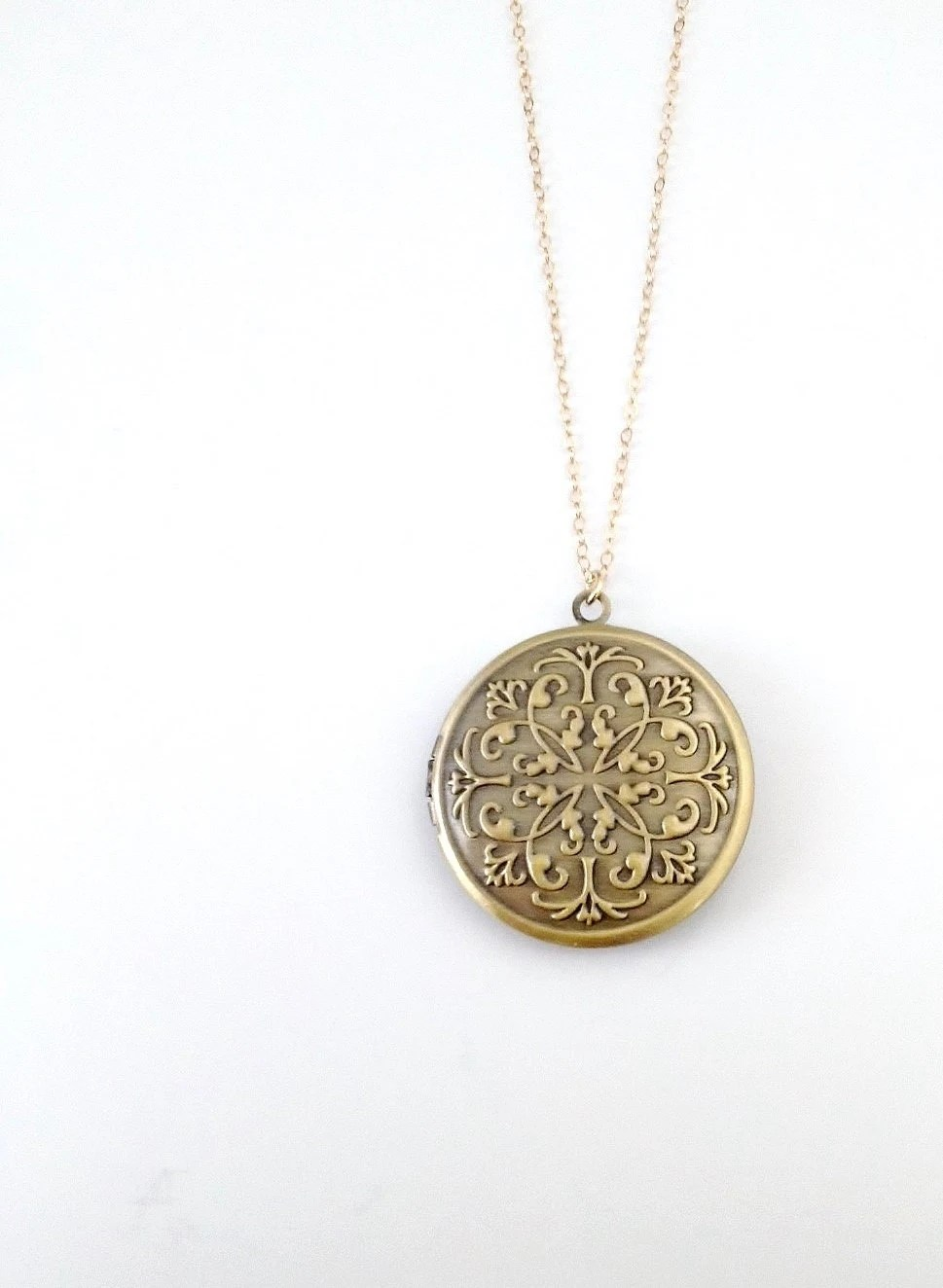 Antique Brass Locket Necklace Vintage Style Engraved Design