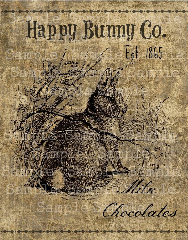 Primitive Vintage Bunny Rabbit Digital Image Feedsack