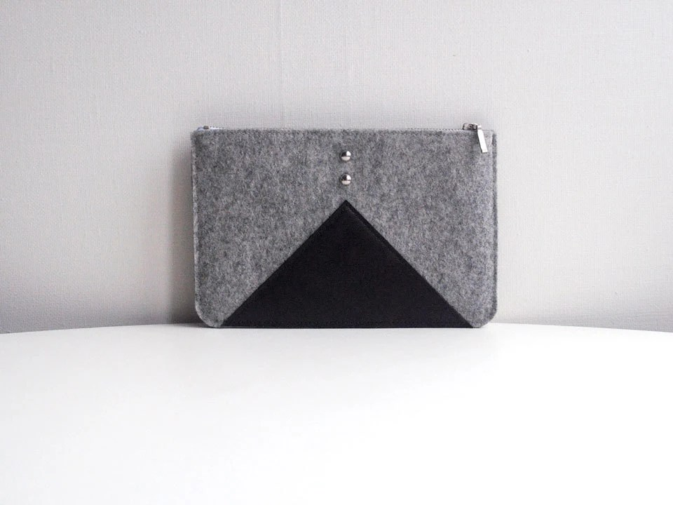 Grey Black Wool Felt Genuine Leather Cosmetics Bag Pouch Purse - FancyfeltShop