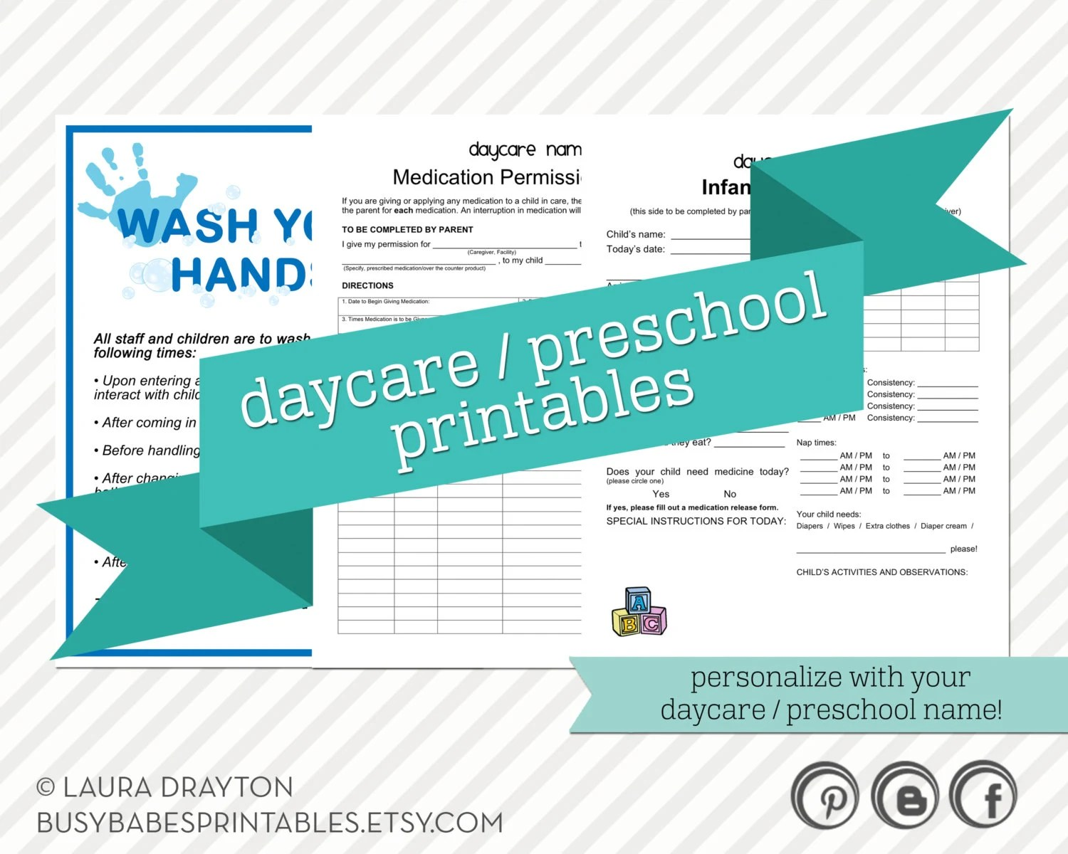 Daycare Preschool Printables Hand By Lauradraytoncreative
