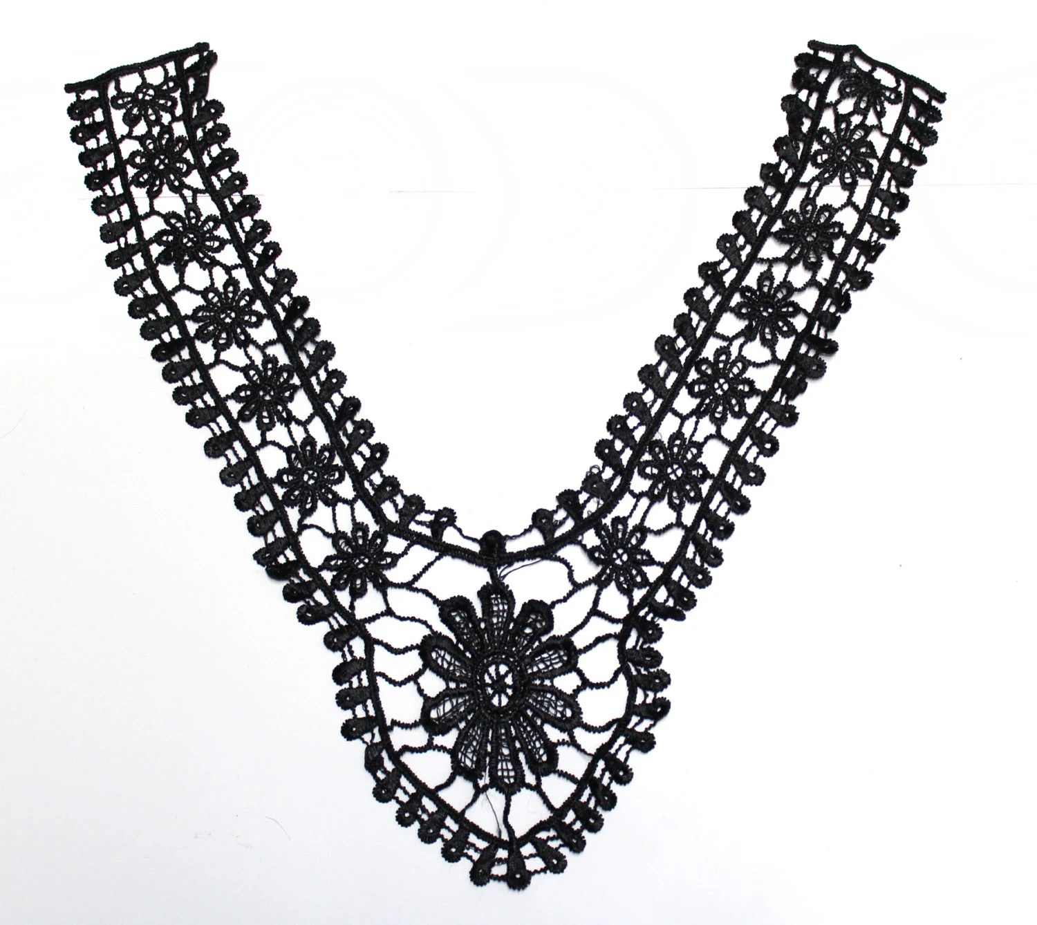 Items similar to Black Lace Necklace Applique for Garments